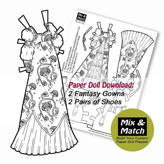 Fairy Tale Printable Coloring Page- Girls Coloring Sheet to Print- Collage Sheet- Instant Download- Fairy Tale Doll Dress Up