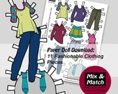 Printable Fashion Paper Doll Clothing- Fashion Collage Sheet- Kids Printable Paper Crafts- Girl's Printable Paper Toys- Dress Up Games