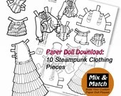 Streampunk Coloring Page- Steampunk Doll Costumes- Printable Paper Doll- Steampunk Clothing- Dress Up Doll