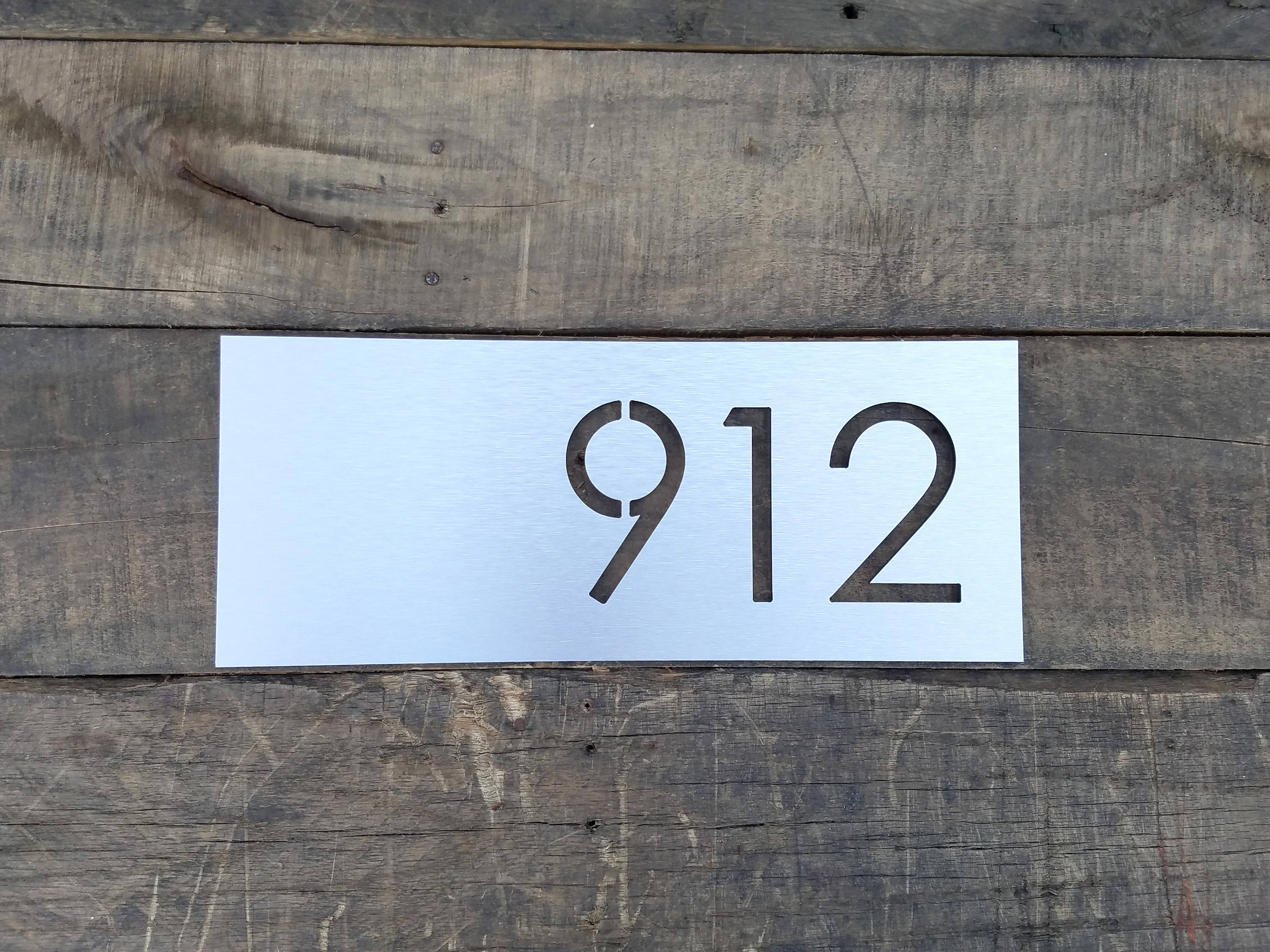 Address Plaque Modern House Numbers Brushed Metal Horizontal Size     Address Plaque Modern House Numbers Brushed Metal Horizontal Size Options