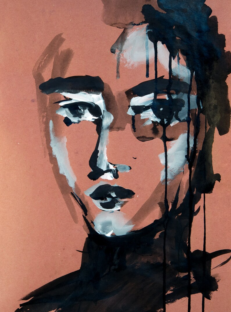 Expressive Portrait Of A Woman Female Portrait Contemporary Style One Of A Kind Expressive Ink Art Ready To Frame Unique Art