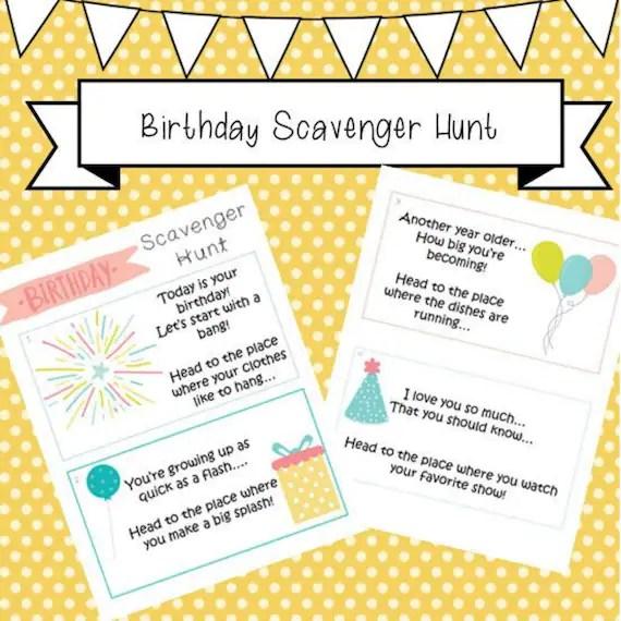 Birthday Scavenger Hunt Clue Cards Kids Toddlers Scavenger Etsy