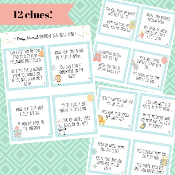 Birthday Scavenger Hunt Clue Cards 12 Clues Simple Fun Etsy