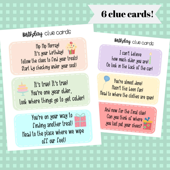 Birthday Scavenger Hunt Clue Cards Gender Neutral Simple Etsy