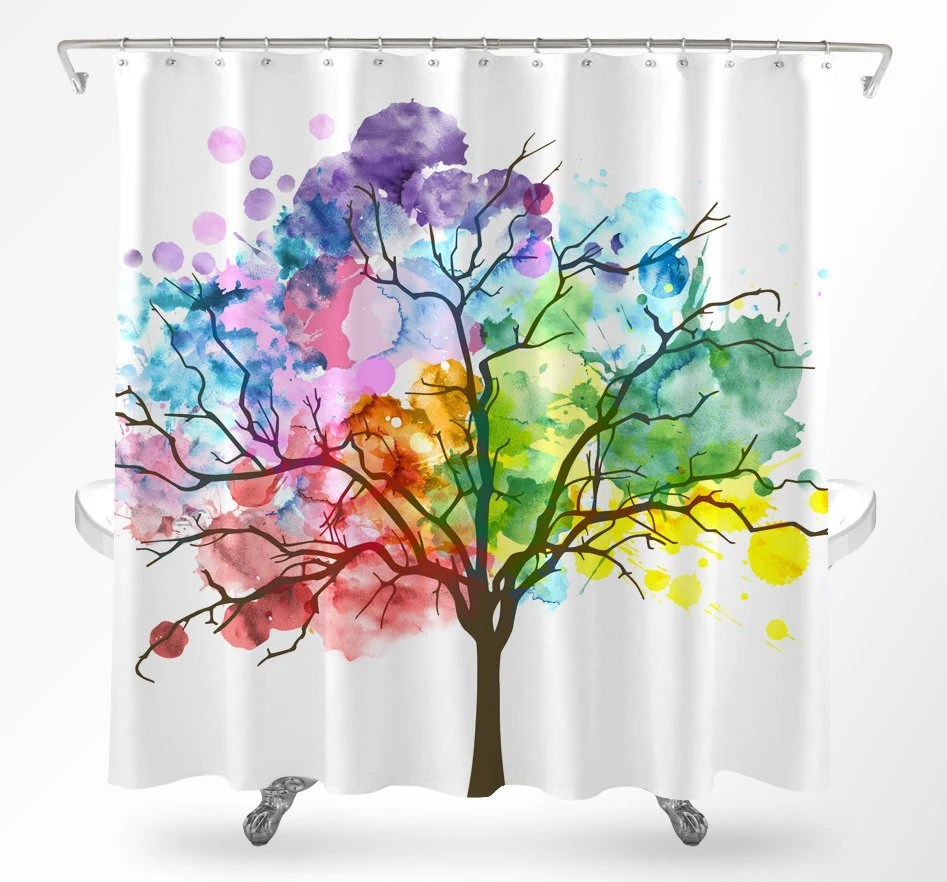tree shower curtain watercolor wisteria