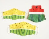 Preorder Cool Breeze Watermelon Yellow 3D Fabric Mask Cover and Case Bundle ~ Adult Kid Double Gauze Mask ~ Mask Case ~ Japanese Cotton Mask