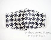 Preorder 3D Reusable Fabric Mask Cover ~ Grey Birds Houndstooth ~Cotton Adjustable Mask ~ Kid Adult Washable Mask Cover ~ Fabric Mask Sleeve