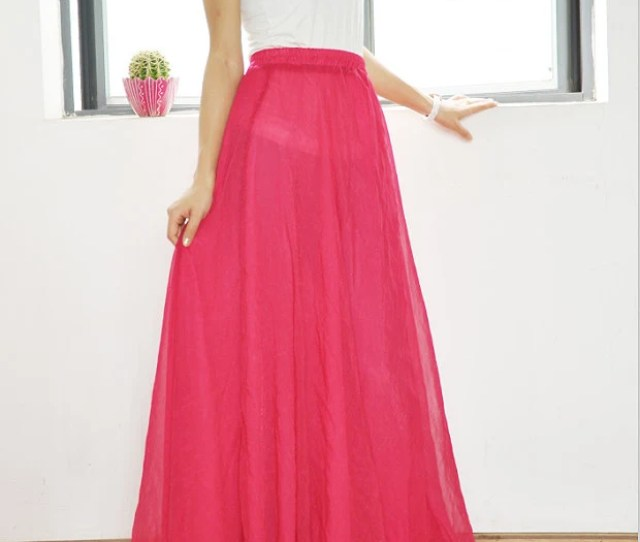 Chiffon Maxi Skirt High Waist Long Skirt Silk Skirts Elegant Elastic Waist Summer Skirt Floor Length Long Skirt