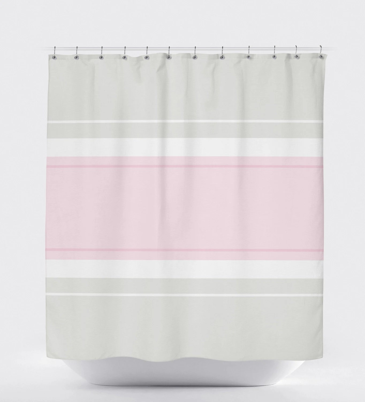 Minimalist Shower Curtain Pink Shower Curtain Striped Shower Curtain Gray Bathroom Decor Gray Bathroom Decor Modern Shower Curtain