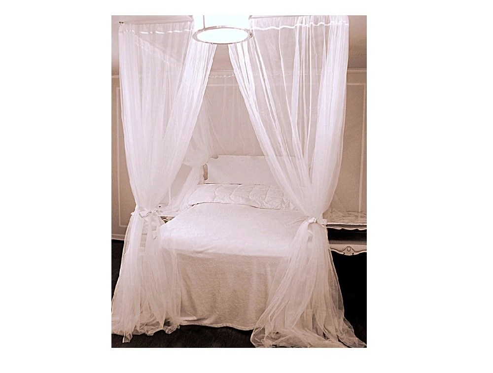 white queen size bed canopy with chiffon curtains four poster bed panels curtains white sheer drapery decor princess bedroom accessory