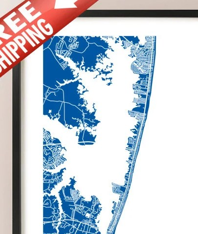 HD Decor Images » Ocean City MD Map Maryland USA Art Poster Print   Etsy image 0