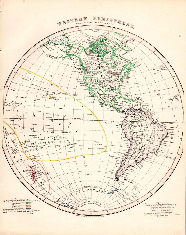 Western Hemisphere Globe Antique Map Hand Colored