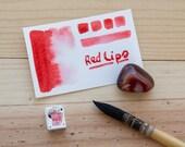 RED LIPS - Half pan handmade watercolor - Aquarelle maison