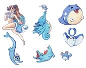 Pokemon swimmer trainer set 8 vinyl stickers