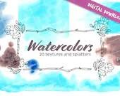 Autumn watercolor textures and splatters - Digital download