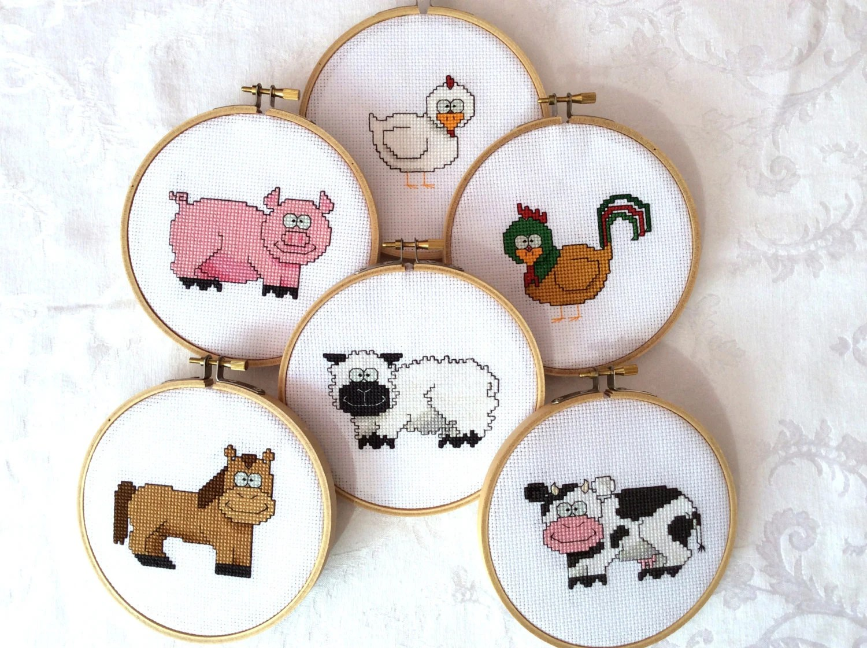 Farm Animal Cross Stitch Bundle Pattern Embroidery
