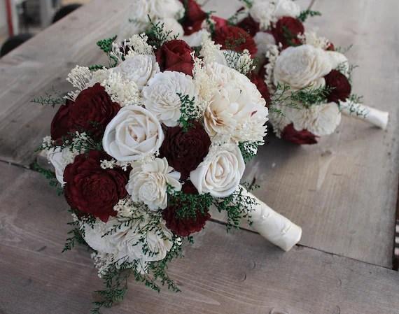 Burgundy Sola Flower Bouquet Burgundy & Cream Wedding