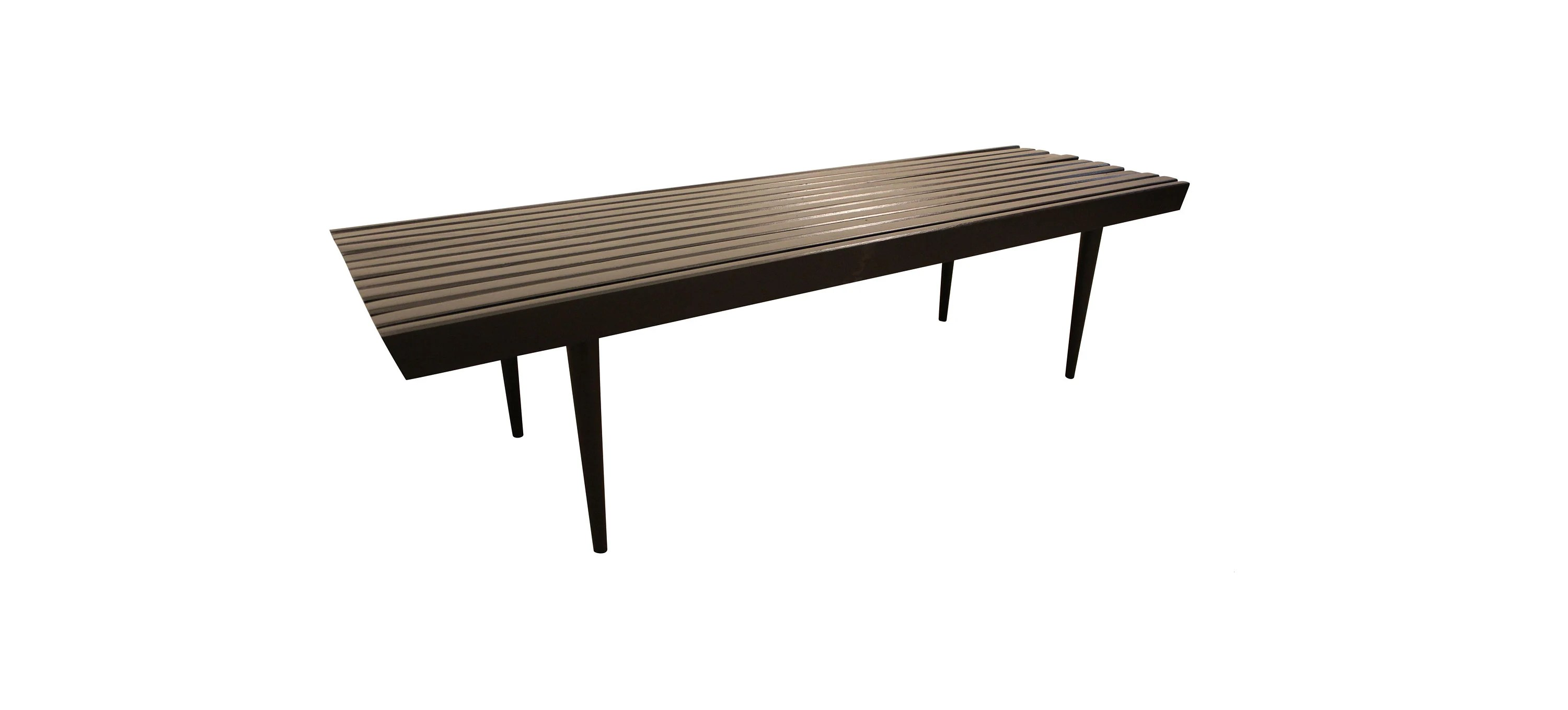 Mid Century Slat Bench Coffee Table Ebonized Walnut 7