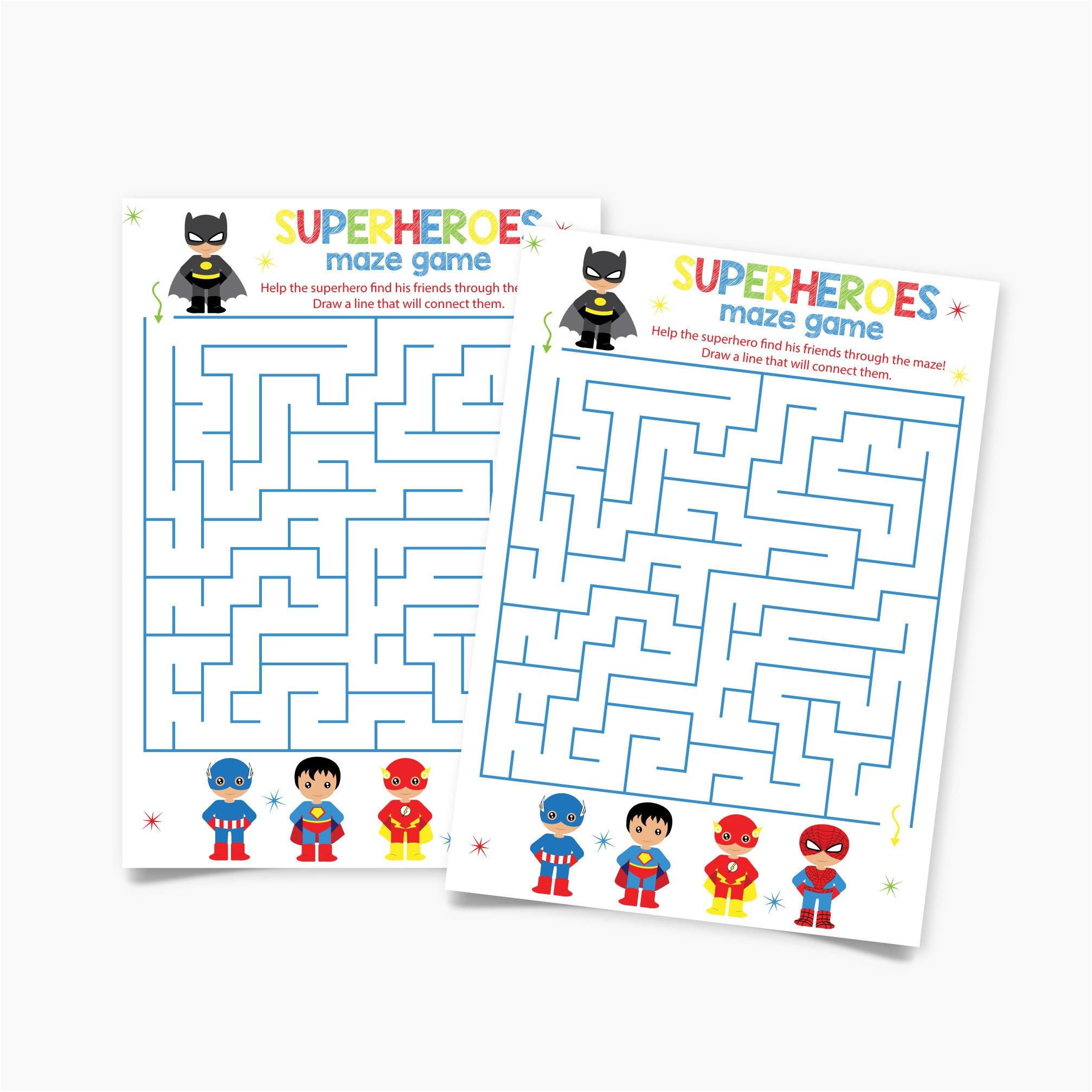 Printable Superheroes Birthday Maze Game Birthday Party