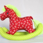 Rocking Pony Baby Horse Plush Baby Colorful Cute Baby Shower Cotton Fabric Fluorescent Yellow Green Red Floral Pattern