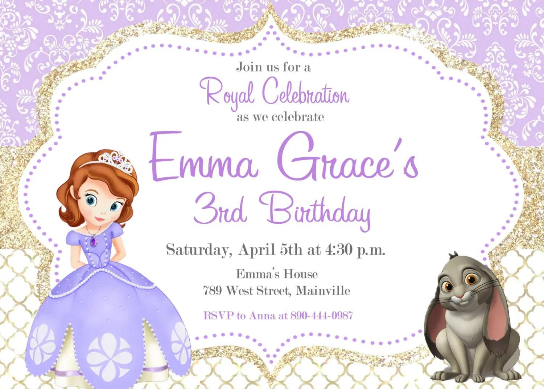 Sofia The First Birthday Party Invitation Digital Or