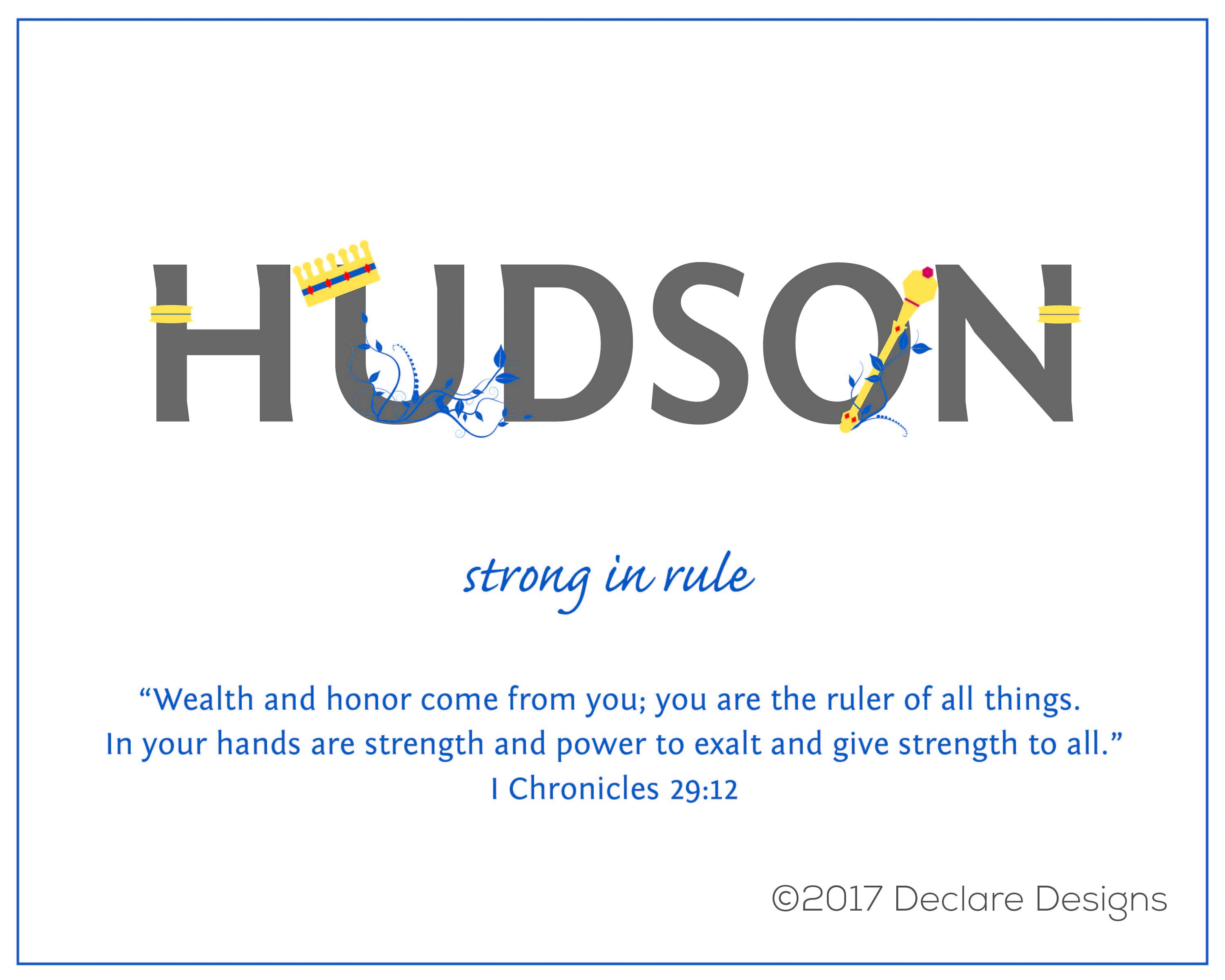 Hudson Name Art Canvas With Name Meaning And Scripture Verse