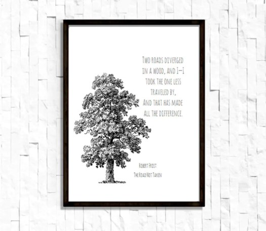 The Road Less Traveled By Robert Frost Poem Wall Art 8.5X11 image 0