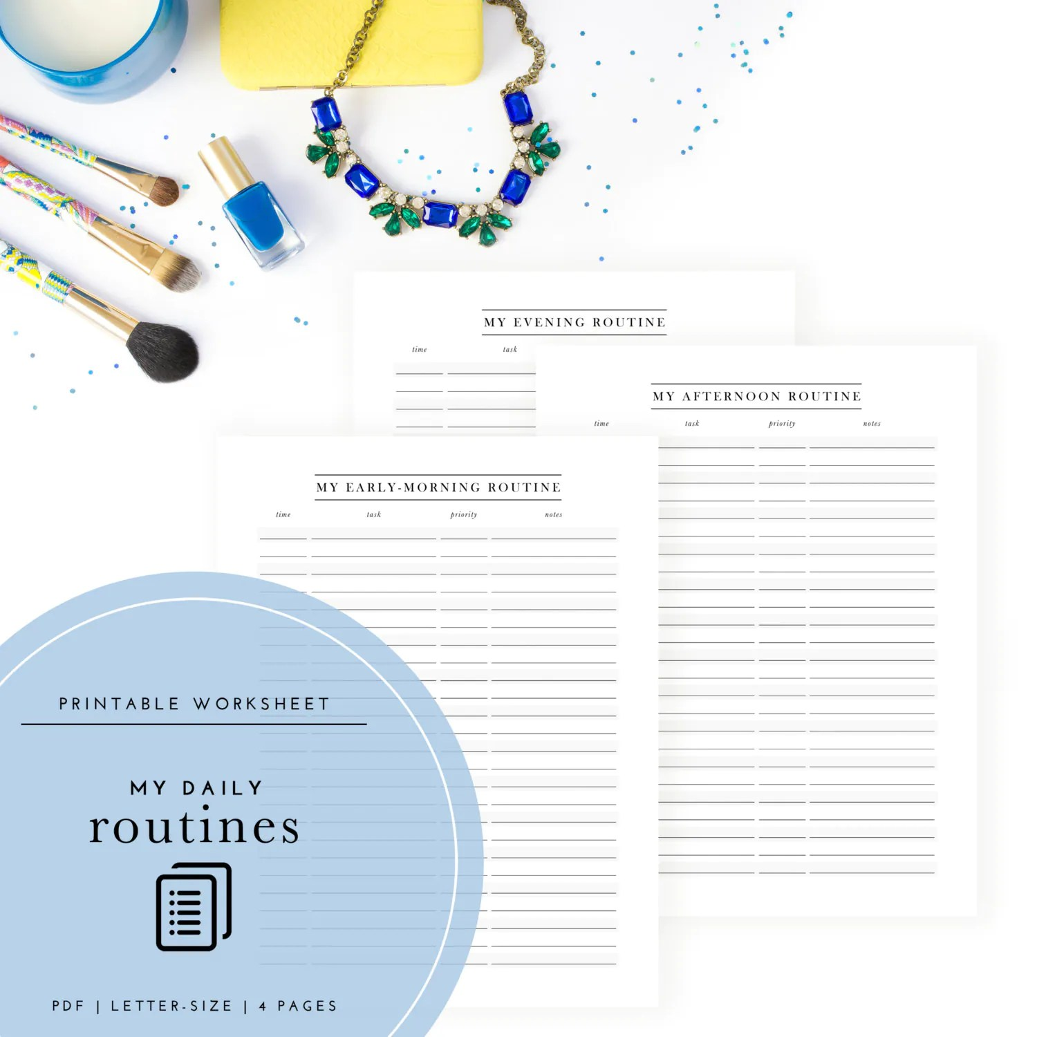 Printable My Daily Routines Planner Set Of 4
