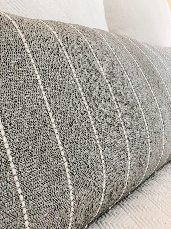 gray long lumbar pillow extra long lumbar pillow gray striped pillow gray body pillow cover farmhouse pillow decor