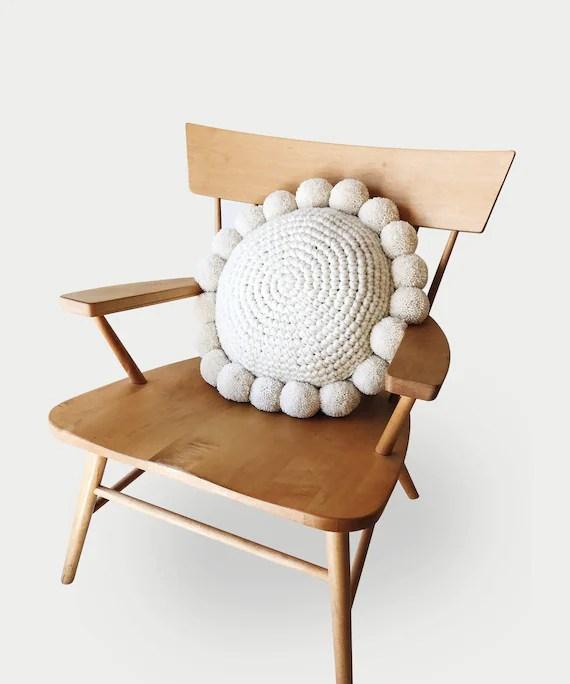 crochet pattern pillow round pom pom the pestel pillow