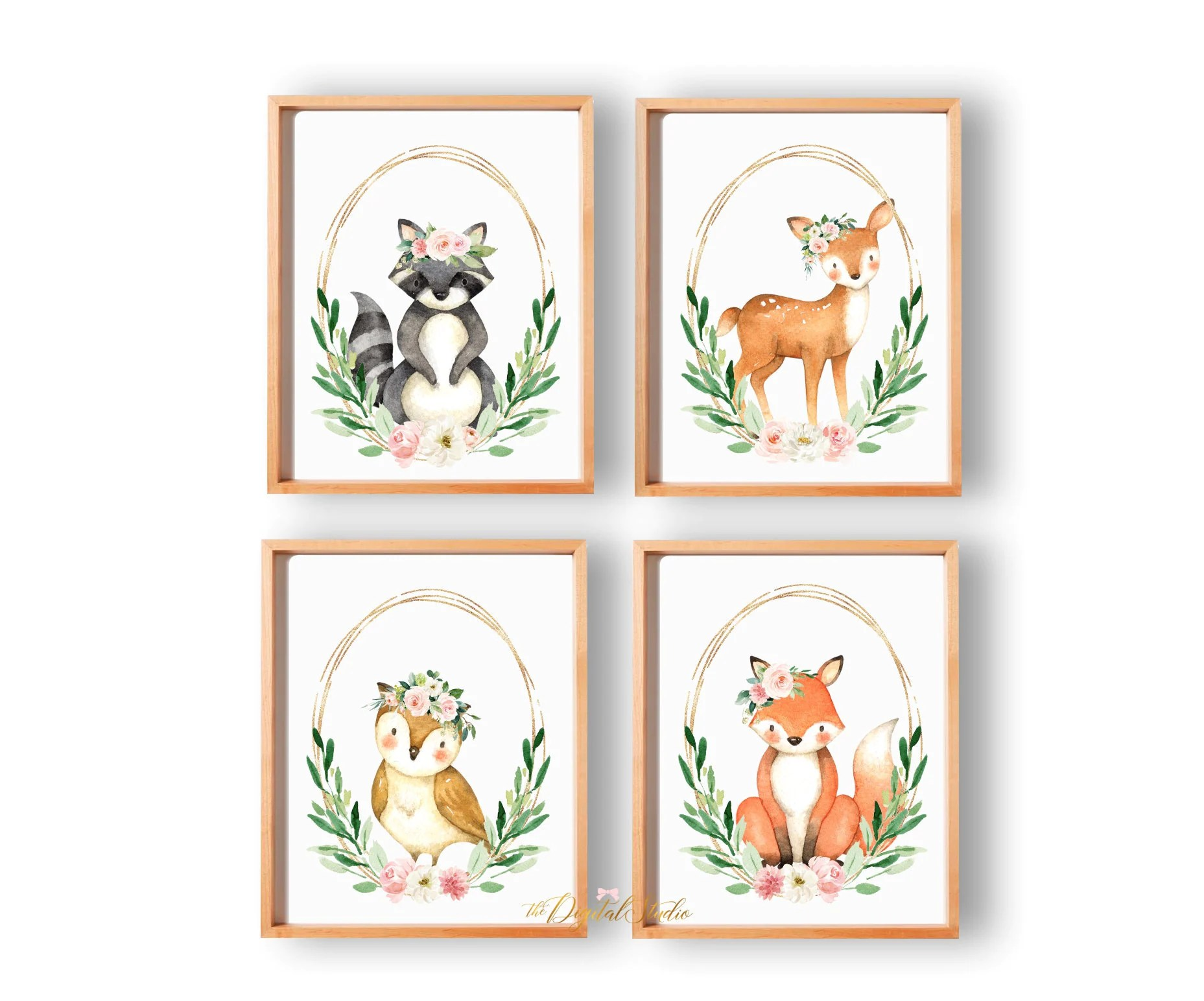 Woodland Forest Animals Printable Art Baby Animal Prints