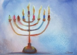 Original Watercolor Painting Chanukah Menorah 5th Night | Etsy