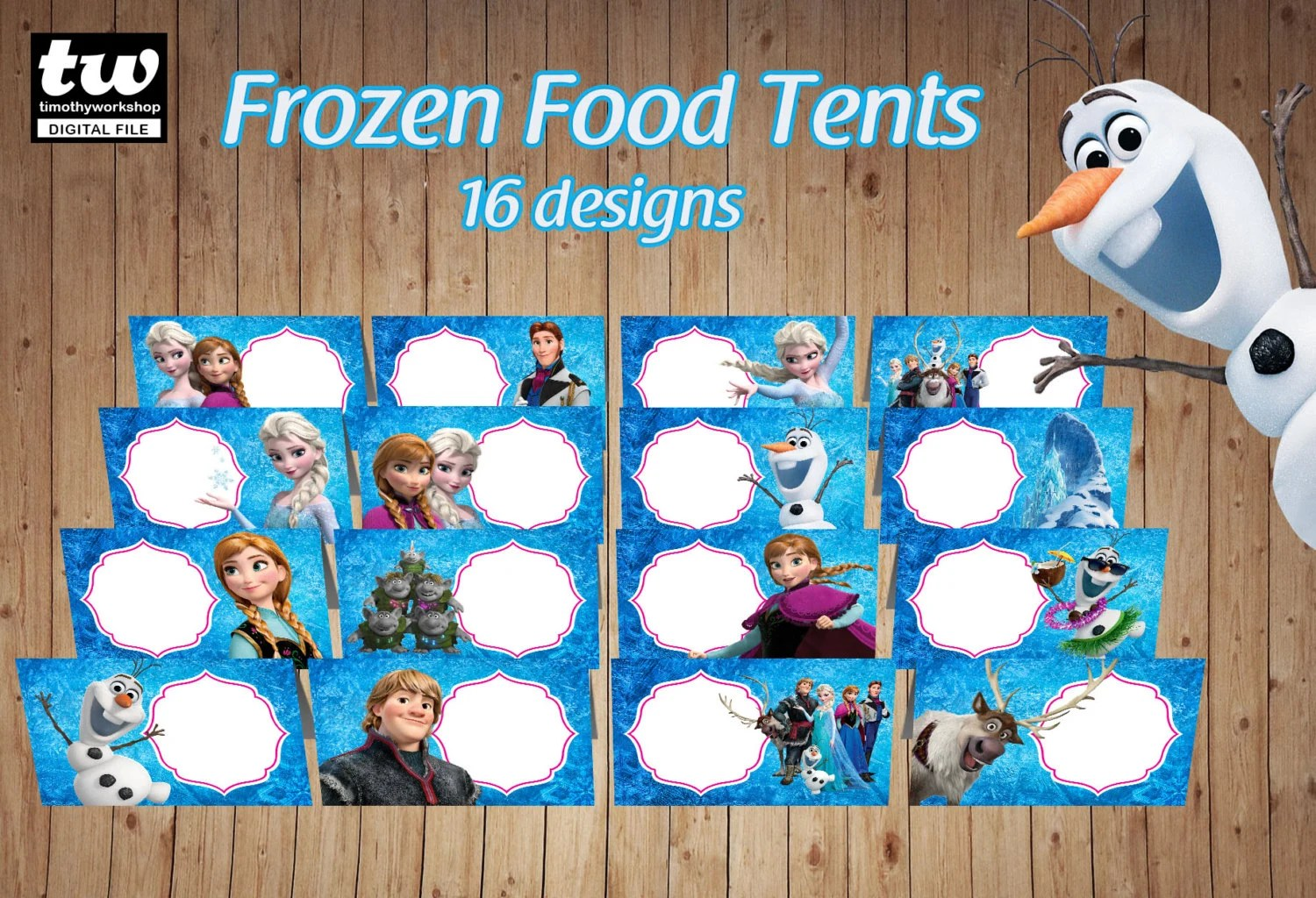 Frozen Blank Food Tents Food Labels