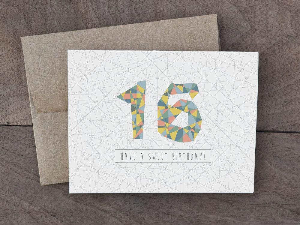Handmade Birthday Card Sweet 16 Birthday Card Geometric Etsy