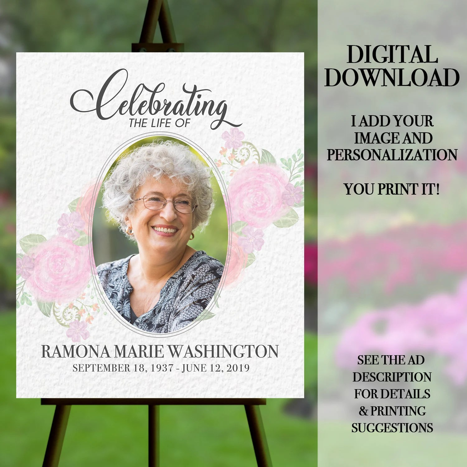 funeral welcome sign celebration of life poster funeral memorial memorial service funeral poster funeral portrait memorial flowers