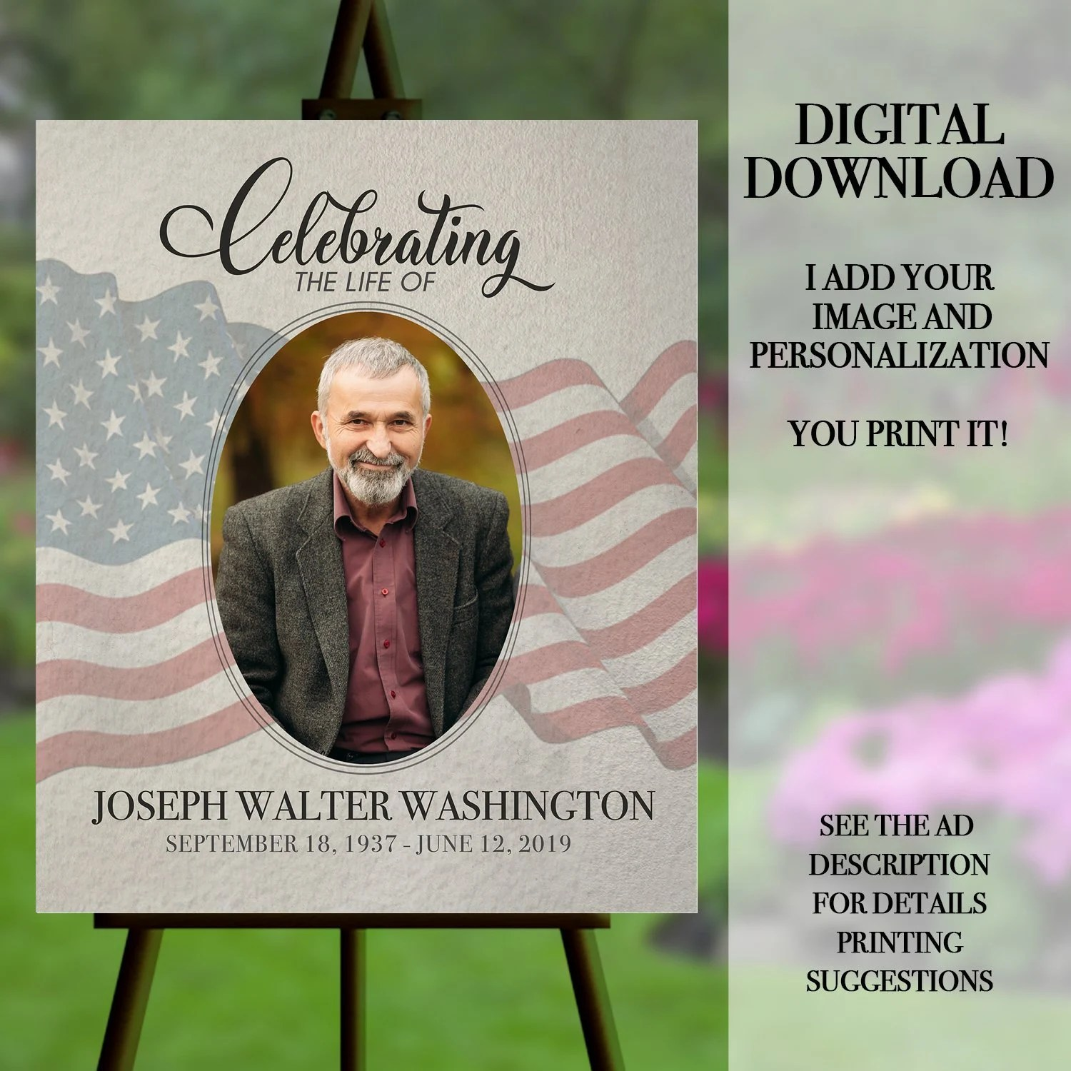 funeral welcome sign celebration of life poster funeral memorial memorial service funeral poster funeral portrait memorial with flag
