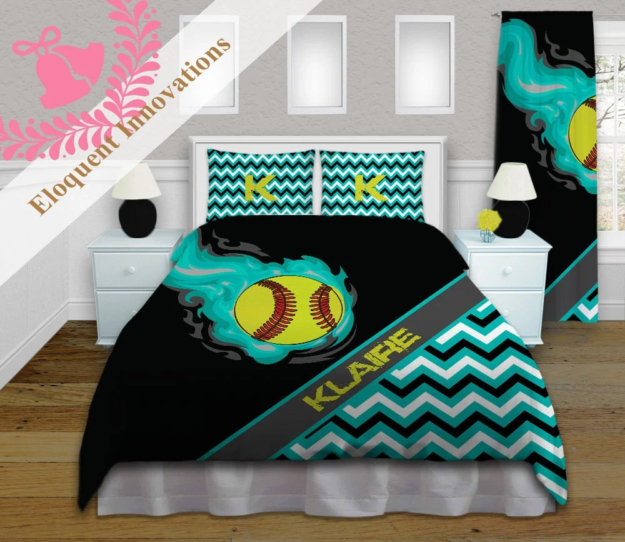 personalized softball comforter set softball bedding teal black girls softball sports comforters king queen full twin xl 391
