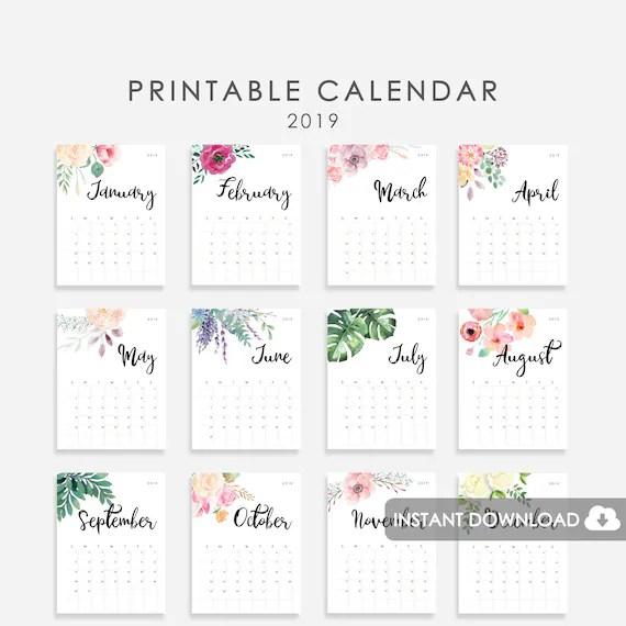 2019 Desk Calendar Printable Wall Calendar 2019 Calendar Watercolor Flowers Printable Calendar 2019 Desk Calendar 2019 Monthly Calendar