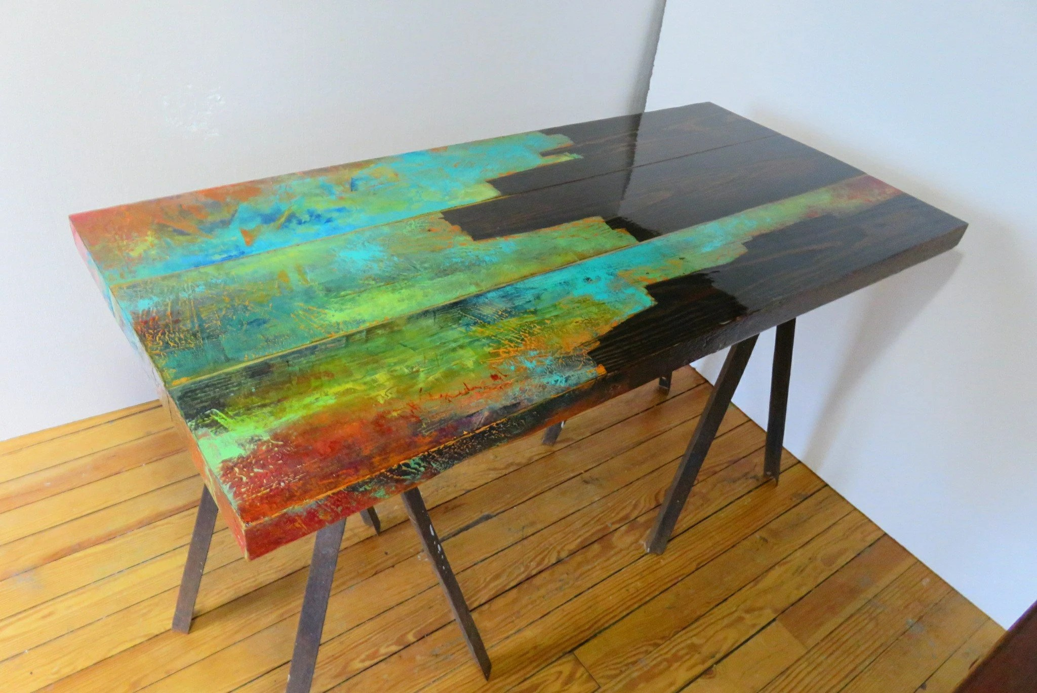 jewel tone painted coffee table abstract art combined with rustic look of reclaimed wood unique urban art industrial chic pipe legs
