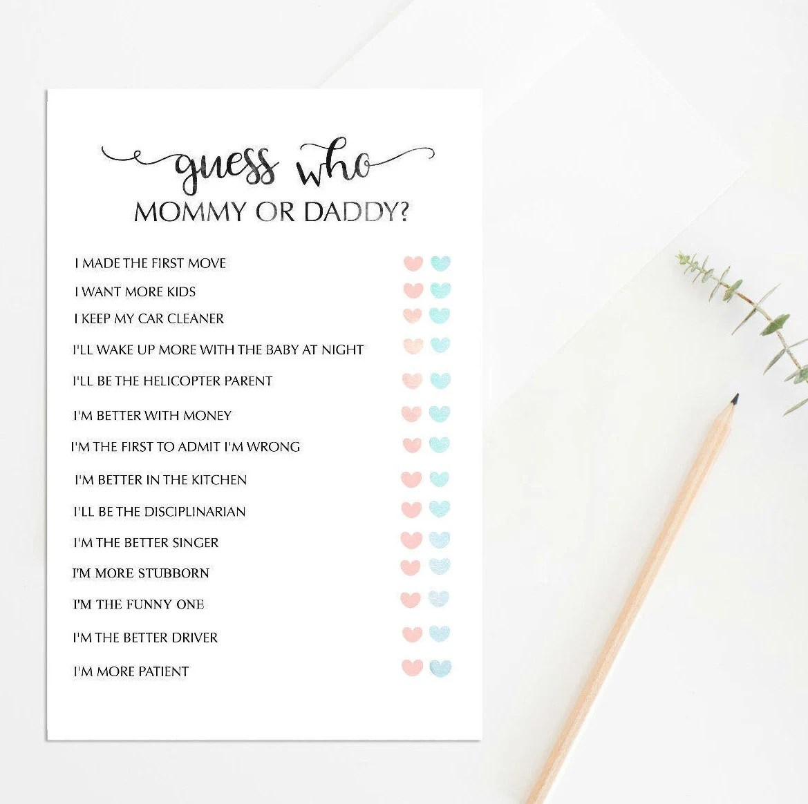 Mommy Or Daddy Baby Shower Game Printable Baby Shower Game