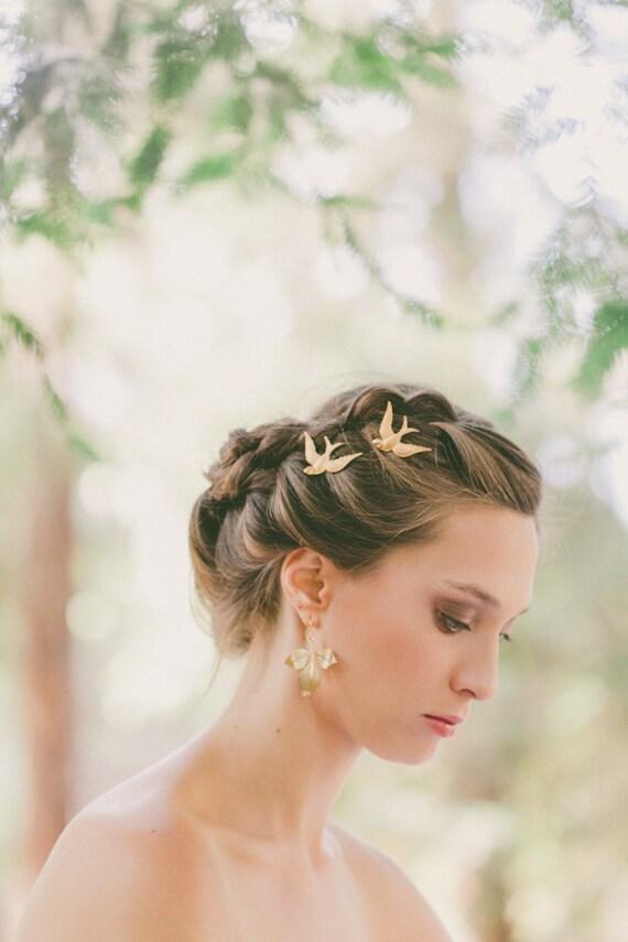 Gold Bird Bobby Pins Bird Hair Pins Bird Hair Clips Wedding Etsy