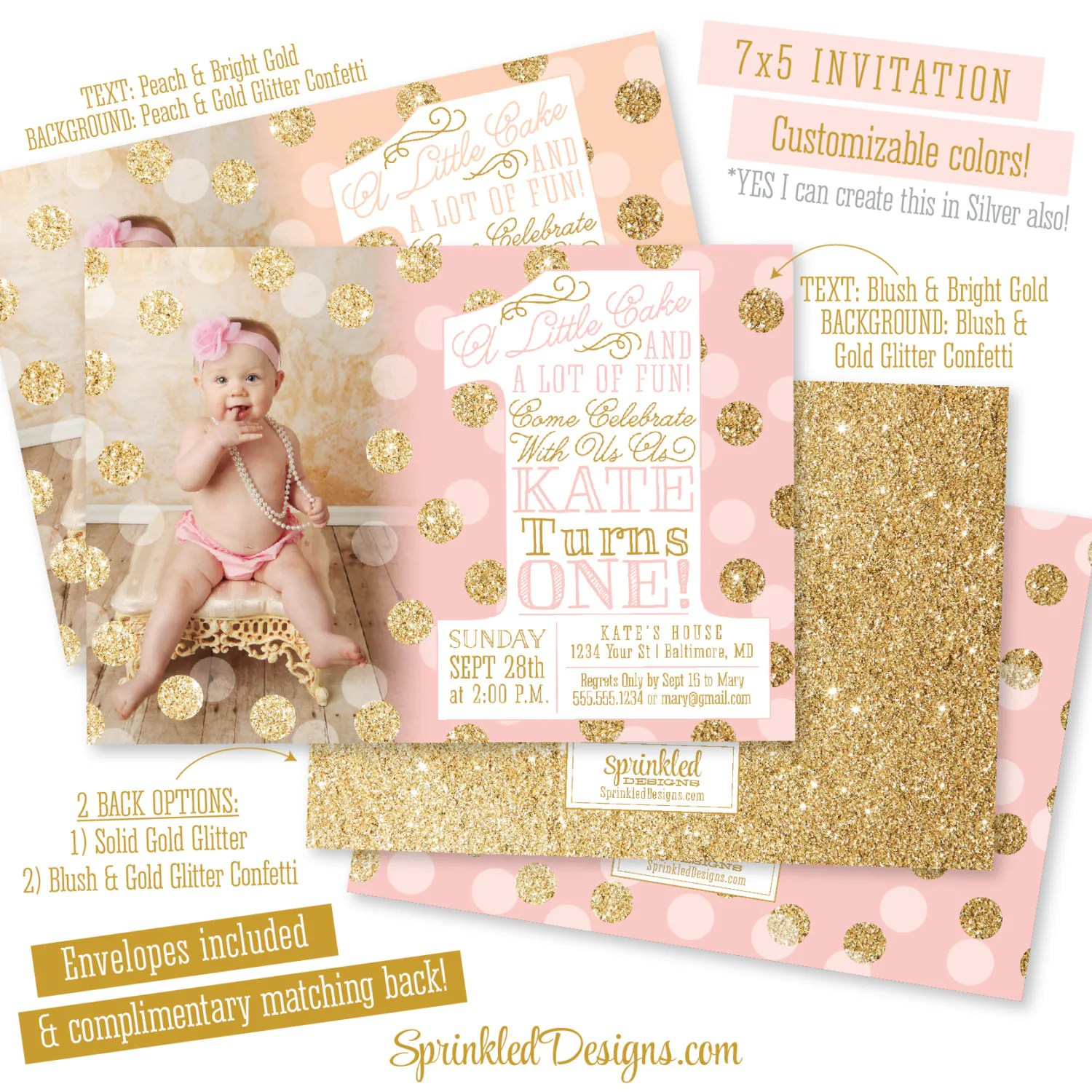 Pink Gold First Birthday Invitation With Photo Big One 1st Etsy