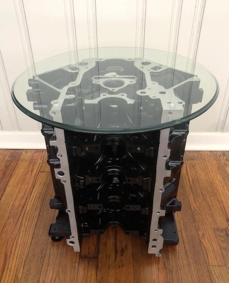 v8 engine block coffee table and wine rack