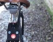 Genuine Leather LED Bike Light (Black)  Cycling, Cyclist, Bikeride, Front Light, Rear Light,
