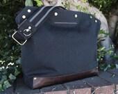 Messenger Bag / Large (Black)  Waxed Canvas, Leather, Crossbody, Bike Bag, Cycling Bag, Handmade Shoulder Bag, Work Bag, Cyclist