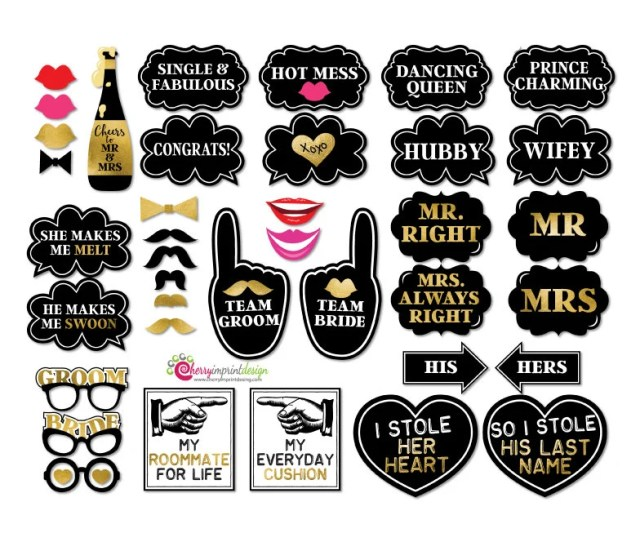 Funny Wedding Photo Booth Props Gold And Black Wedding Instant Download Diy Printable High Res Jpeg