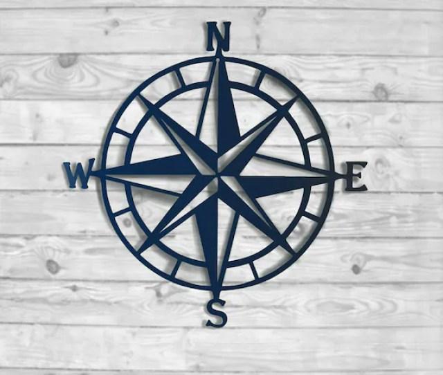 Compass Rose Metal Wall Art Nautical Compass Nautical Wall Etsy