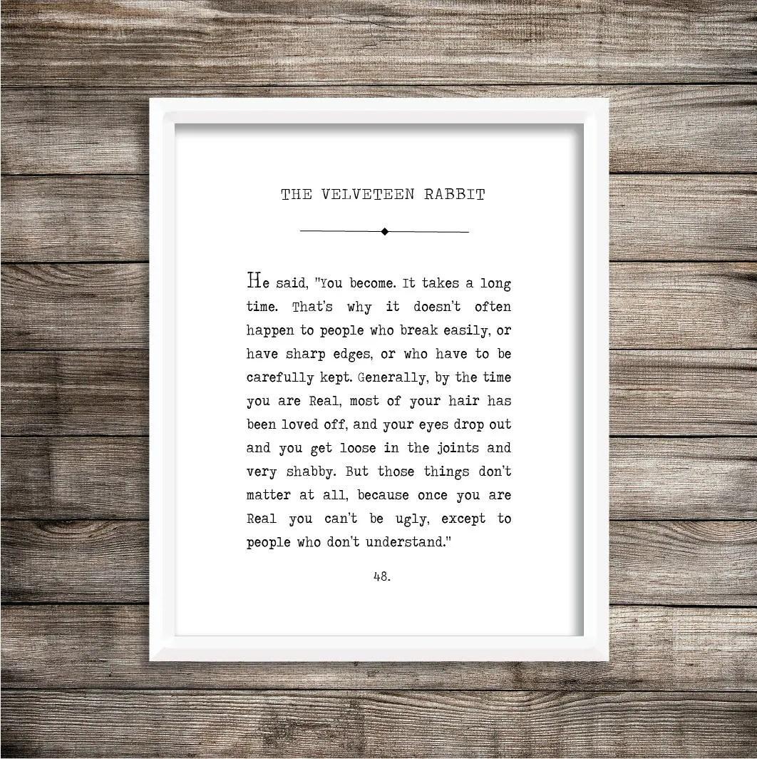 The Velveteen Rabbit Book Page Print Digital Printable