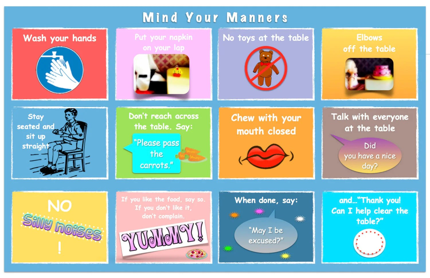 Table Manners For Kids Placemat Double Sided Amp Laminated