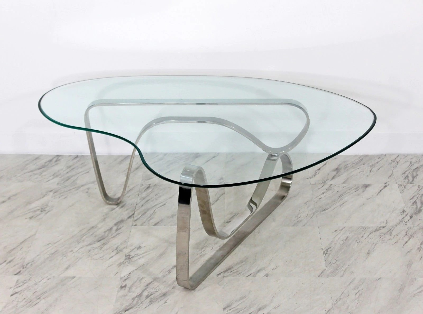 Mid Century Modern Sculptural Chrome Kidney Glass Coffee Table Pace Era 1970s